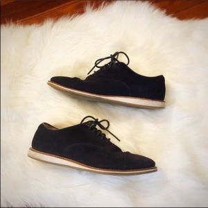 Church's English navy blue suede dress shoes 10.5